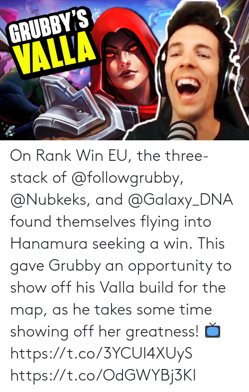 Flying: On Rank Win EU, the three-stack of @followgrubby, @Nubkeks, and @Galaxy_DNA found themselves flying into Hanamura seeking a win.  This gave Grubby an opportunity to show off his Valla build for the map, as he takes some time showing off her greatness!  📺https://t.co/3YCUI4XUyS https://t.co/OdGWYBj3Kl