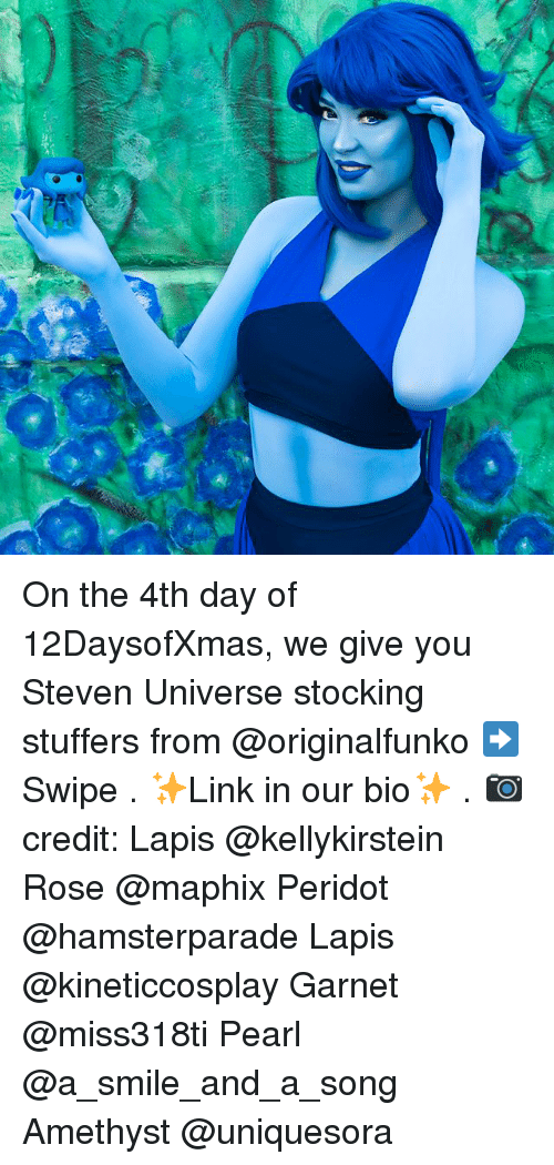 Memes, Amethyst, and Rose: On the 4th day of 12DaysofXmas, we give you Steven Universe stocking stuffers from @originalfunko ➡️ Swipe . ✨Link in our bio✨ . 📷 credit: Lapis @kellykirstein Rose @maphix Peridot @hamsterparade Lapis @kineticcosplay Garnet @miss318ti Pearl @a_smile_and_a_song Amethyst @uniquesora
