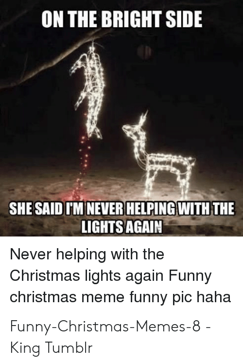 Christmas, Funny, and Meme: ON THE BRIGHT SIDE  SHE SAID IM NEVER HELPING WITH THE  LIGHTS AGAIN  Never helping with the  Christmas lights again Funny  christmas meme funny pic haha Funny-Christmas-Memes-8 - King Tumblr