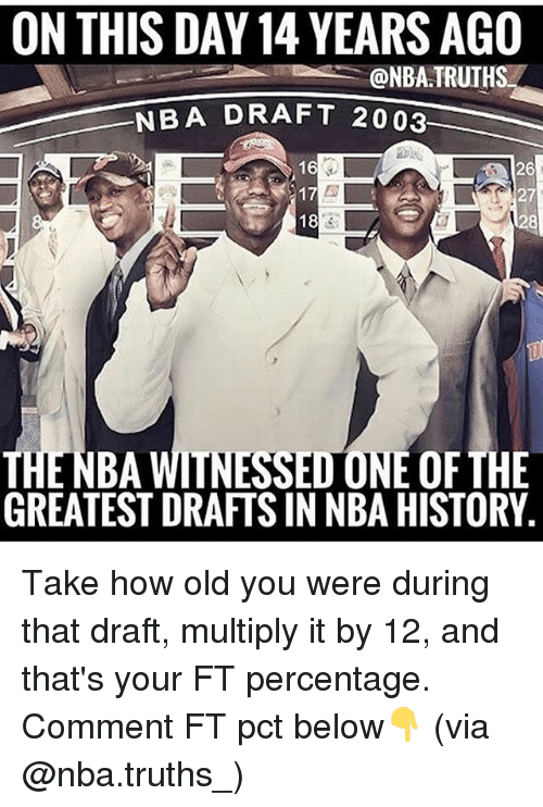 Memes, Nba, and History: ON THIS DAY 14 YEARS AGO  @NBA TRUTHS  NBA DRAFT 2003  26  27  28  16  18  THENBA WITNESSED ONE OF THE  GREATEST DRAFTS IN NBA HISTORY Take how old you were during that draft, multiply it by 12, and that's your FT percentage. Comment FT pct below👇 (via @nba.truths_)