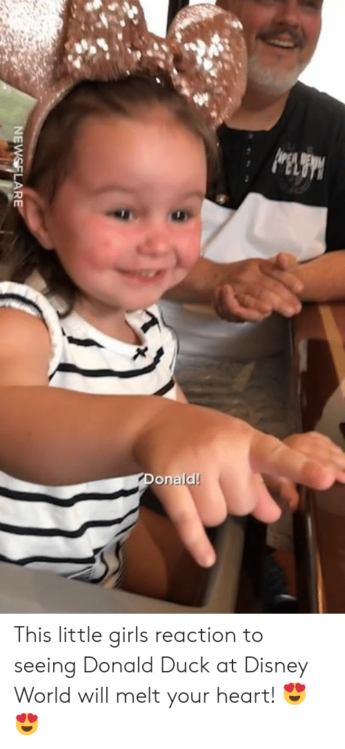 Little Girls: onald! This little girls reaction to seeing Donald Duck at Disney World will melt your heart! 😍😍