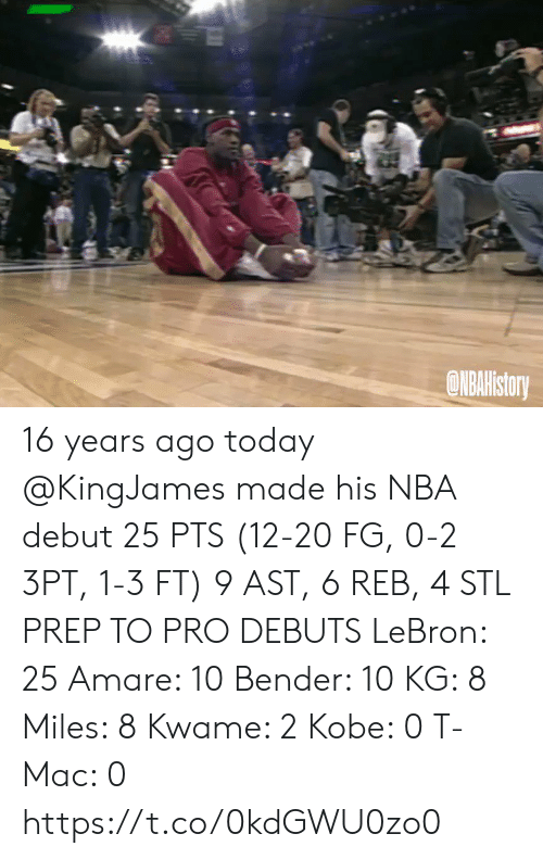 prep: ONBAHistory 16 years ago today @KingJames made his NBA debut 25 PTS (12-20 FG, 0-2 3PT, 1-3 FT) 9 AST, 6 REB, 4 STL   PREP TO PRO DEBUTS LeBron: 25 Amare: 10 Bender: 10 KG: 8 Miles: 8 Kwame: 2 Kobe: 0 T-Mac: 0   https://t.co/0kdGWU0zo0