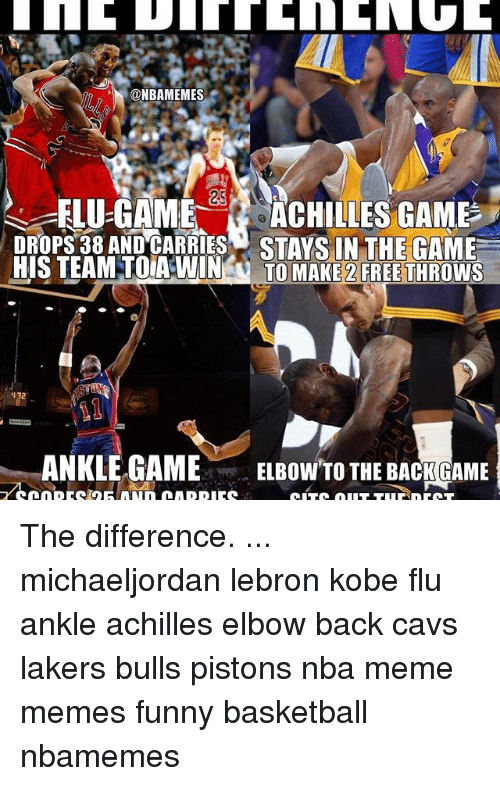 Basketball, Cavs, and Funny: ONBAMEMES  ELU-GAME  ACHILLES GAME  STAYS IN THE GAME  HIS TEAM TOIA WIN  TO MAKE 2 FREE THROWS  932  ANKLE GAME  ELBOW TO THE BACK GAME The difference. ... michaeljordan lebron kobe flu ankle achilles elbow back cavs lakers bulls pistons nba meme memes funny basketball nbamemes