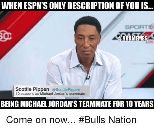 Jordans, Nba, and Bulls: ONBAMEMES  Scottie Pippen  @Scottie Pippen  10 seasons as Michael Jordan's teammate  BEING MICHAEL JORDAN'S TEAMMATE FOR 10 YEARS Come on now... #Bulls Nation