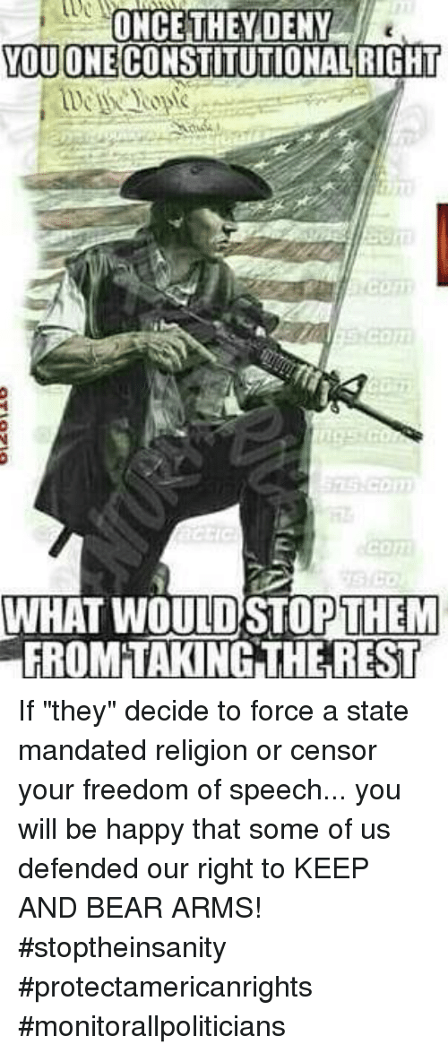 """Memes, Bear, and Happy: ONCE THEYDENY  OUONECONSTITUTIONALRIGHT  WHAT WOULD STOPTHEM  FROM'TAKING THE REST If """"they"""" decide to force a state mandated religion or censor your freedom of speech... you will be happy that some of us defended our right to KEEP AND BEAR ARMS! #stoptheinsanity #protectamericanrights #monitorallpoliticians"""
