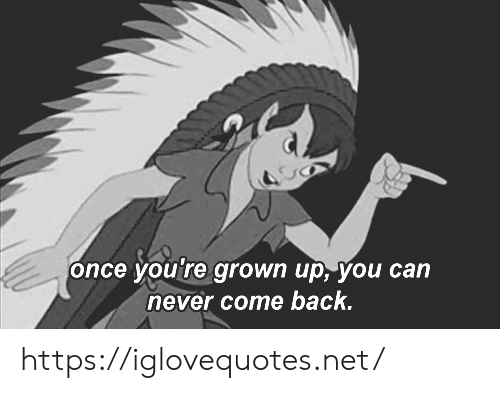 Never, Back, and Net: once you're grown up, you can  never come back. https://iglovequotes.net/