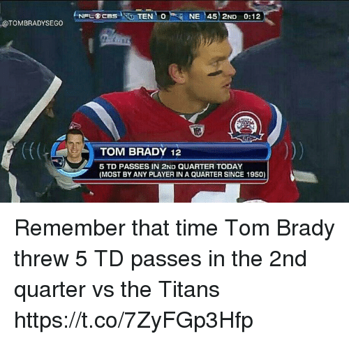 Memes, Tom Brady, and Time: ONE 45 2ND 0:12  eTOMBRADYSECO NPL BCBS TEN  I TOM BRADY 12  5 TD PASSES IN 2ND QUARTER TODAY  (MOST BY ANY PLAYER IN A QUARTER SINCE 1950) Remember that time Tom Brady threw 5 TD passes in the 2nd quarter vs the Titans https://t.co/7ZyFGp3Hfp