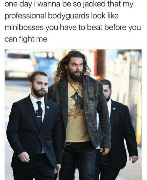 Fight, Can, and One: one day i wanna be so jacked that my  professional bodyguards look like  minibosses you have to beat before you  can fight me
