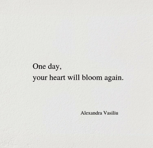 Heart, One, and One Day: One day,  your heart will bloom again  Alexandra Vasiliu