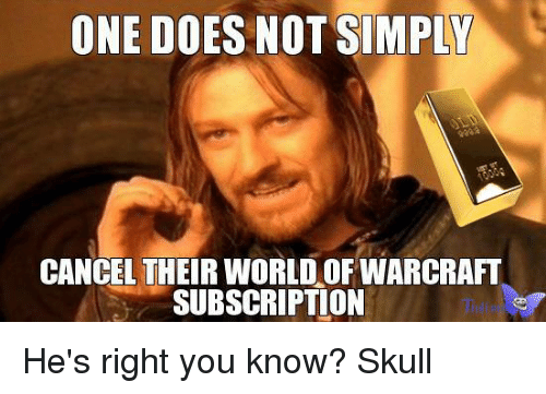Doe, Memes, and Skull: ONE DOES NOT SIMPLY  CANCEL THEIR WORLD OF WARCRAFT  SUBSCRIPTION He's right you know? Skull
