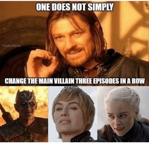 episodes: ONE DOES NOT SIMPLY  TraiByMeme  CHANGE THE MAIN VILLAIN THREE EPISODES IN A ROW
