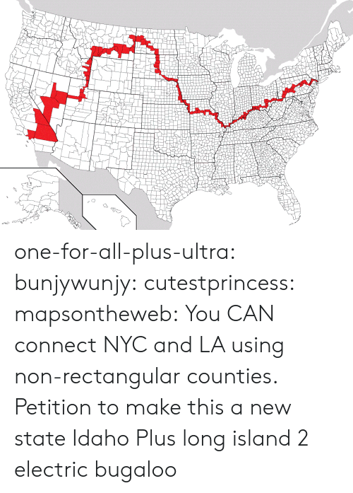 Tumblr, Zoom, and Blog: one-for-all-plus-ultra:  bunjywunjy:  cutestprincess:  mapsontheweb: You CAN connect NYC and LA using non-rectangular counties.  Petition to make this a new state   Idaho Plus  long island 2 electric bugaloo