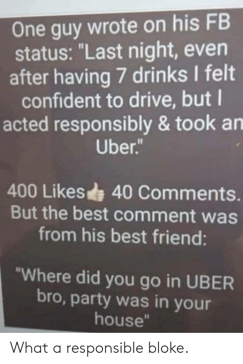 "Best Comment: One guy wrote on his FB  status: ""Last night, even  after having 7 drinks I felt  confident to drive, but l  acted responsibly & took an  Uber  400 Likes 40 Comments.  But the best comment was  from his best friend:  ""Where did you go in UBER  bro, party was in your  house"" What a responsible bloke."