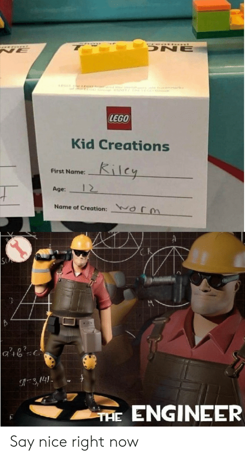 first name: ONE  NE  e GO  rk  LEGO  Kid Creations  Kilcy  First Name:  12  Age:  Name of Creation:  Or  SU  3,141  ENGINEER  THE Say nice right now