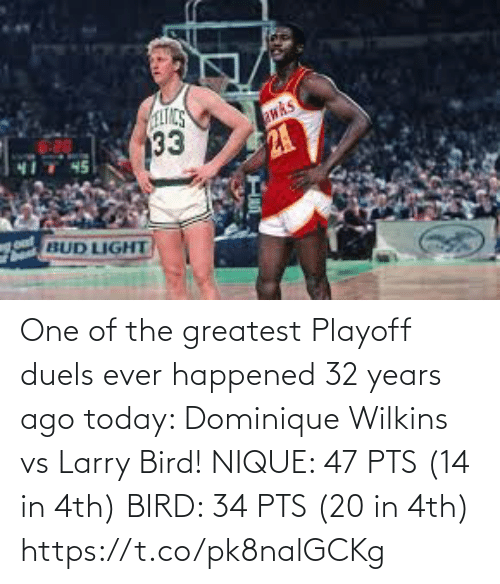 Wilkins: One of the greatest Playoff duels ever happened 32 years ago today: Dominique Wilkins vs Larry Bird!   NIQUE: 47 PTS (14 in 4th) BIRD: 34 PTS (20 in 4th) https://t.co/pk8nalGCKg