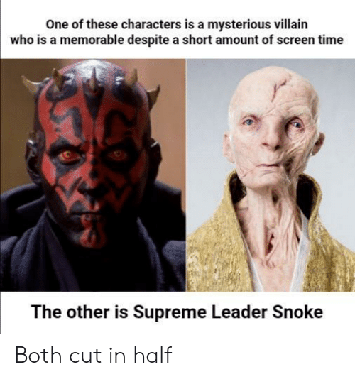 cut in half: One of these characters is a mysterious villain  who is a memorable despite a short amount of screen time  The other is Supreme Leader Snoke Both cut in half