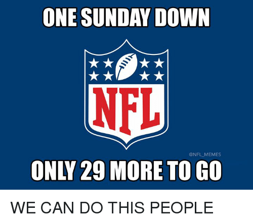 We Can Do This: ONE SUNDAY DOWN  NFL  @NFL MEMES  ONLY 29 MORE TO GO WE CAN DO THIS PEOPLE