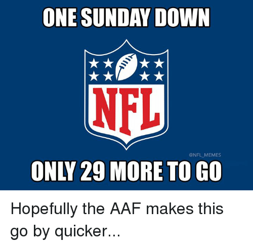 Memes, Nfl, and Sunday: ONE SUNDAY DOWN  NFL  @NFL MEMES  ONLY 29 MORE TO GO Hopefully the AAF makes this go by quicker...