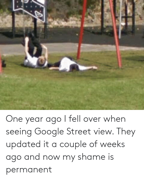 shame: One year ago I fell over when seeing Google Street view. They updated it a couple of weeks ago and now my shame is permanent