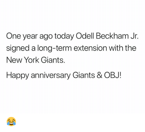 New York, New York Giants, and Nfl: One year ago today Odell Beckham Jr.  signed a long-term extension with the  New York Giants.  Happy anniversary Giants & OBJ! 😂