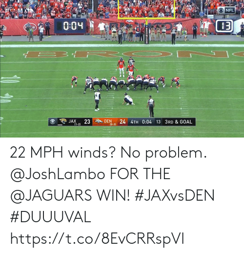 jaguars: ONFL  004  DEN  24 4TH 0:04 13 3RD & GOAL  (0-3)  23  JAX  (1-2) 22 MPH winds? No problem.  @JoshLambo FOR THE @JAGUARS WIN! #JAXvsDEN #DUUUVAL https://t.co/8EvCRRspVI