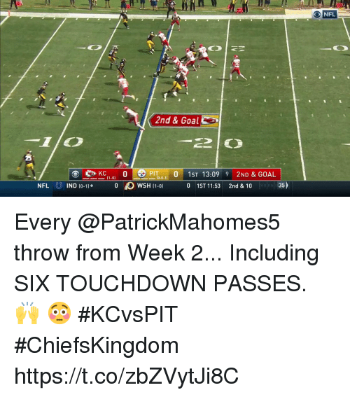 Memes, Nfl, and Goal: ONFL  2nd & Goal  (1-0)  NFL  (O  IND (0-11.  0  )WSH (1-0)  0 1ST 11:53 2nd &10  35) Every @PatrickMahomes5 throw from Week 2...  Including SIX TOUCHDOWN PASSES. 🙌 😳  #KCvsPIT #ChiefsKingdom https://t.co/zbZVytJi8C