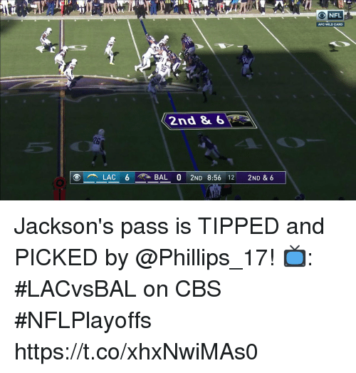 phillips: ONFL  AFC WILD CARD  30  2nd &6  26 Jackson's pass is TIPPED and PICKED by @Phillips_17!  📺: #LACvsBAL on CBS #NFLPlayoffs https://t.co/xhxNwiMAs0