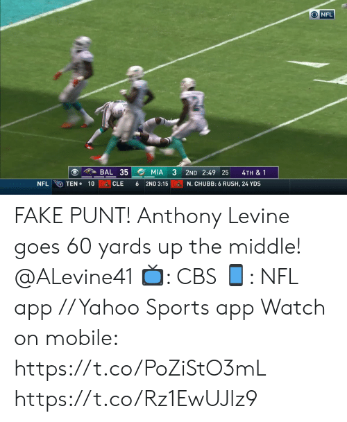 chubb: ONFL  BAL 35  MIA  2ND 2:49 25  4TH & 1  TEN 10  NFL  CLE  6  2ND 3:15  N. CHUBB: 6 RUSH, 24 YDS FAKE PUNT!  Anthony Levine goes 60 yards up the middle! @ALevine41  📺: CBS 📱: NFL app // Yahoo Sports app  Watch on mobile: https://t.co/PoZiStO3mL https://t.co/Rz1EwUJlz9