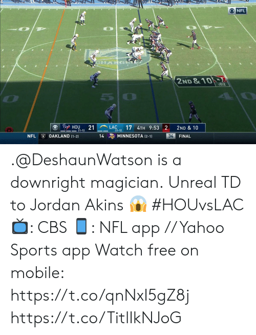 Minnesota: ONFL  CHARGA  2ND &10  :02  LAC  (1-1  17 4TH 9:53 2  HOU  21  2ND & 10  1-1)  OAKLAND (1-2)  NFL  MINNESOTA (2-1)  34  14  FINAL .@DeshaunWatson is a downright magician.  Unreal TD to Jordan Akins ? #HOUvsLAC  ?: CBS ?: NFL app // Yahoo Sports app Watch free on mobile: https://t.co/qnNxI5gZ8j https://t.co/TitlIkNJoG