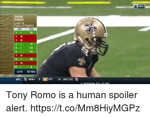 Football, Nfl, and Sports: ONFL  DREW  BREES  LAST 10  PASS ATTEMPTS  ATT  YDS  16  -2  5. 13  12  6.  8.  38  10.  6/10 83 YDS  NFL MIN. 0E1  PIT 142ND 9:03 Tony Romo is a human spoiler alert. https://t.co/Mm8HiyMGPz