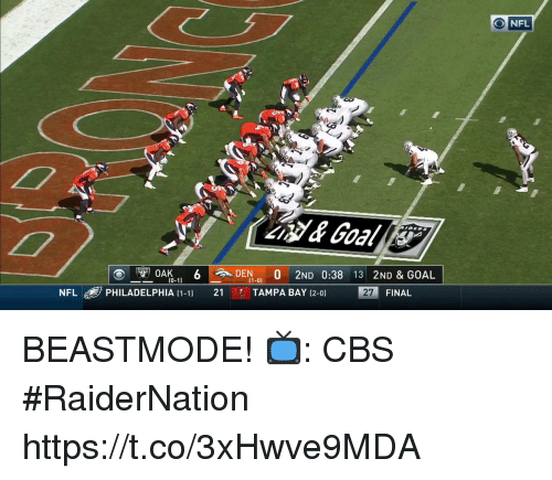 Memes, Nfl, and Cbs: ONFL  K6DEN.  OAK  2ND 0:38 13 2ND & GOAL  (1-0)  NFL di  PHILADELPHIA (1-1)  21  只. TAMPA BAY 12-0)  27  FINAL BEASTMODE!  📺: CBS #RaiderNation https://t.co/3xHwve9MDA