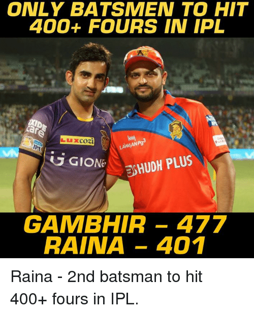 Memes, 🤖, and Ipl: ONLY BATSMEN TO HIT  400+ FOURS IN IPL  ANNAN  G GIONE  ESHUDH PLUS  GAMBHIR 477  RAINA 401 Raina - 2nd batsman to hit 400+ fours in IPL.
