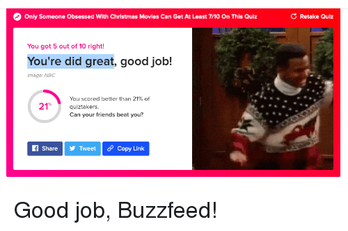 Christmas, Friends, and Movies: Only Someone Obsessed With Christmas Movies Can Get At Least 7/10 On This Quiz  C Retake Quiz  You got 5 out of 10 right!  You're did great, good job!  Image: NBC  You scored better than 21% of  quiztakers.  Can your friends beat you?  21%  f ShareTweet Copy Link