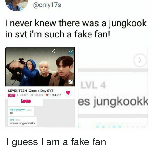 Fake, Guess, and Never: @only17s  i never knew there was a jungkook  in svt i'm such a fake fan!  ku  LVL 4  SEVENTEEN 'Once a Day SVT  Mel 54,426 108,062 1,794.419  es jungkookk  Low  세봉두부캐럿 vv  LVL 7  AraLVL 4  wheres jungkookkkkk I guess I am a fake fan