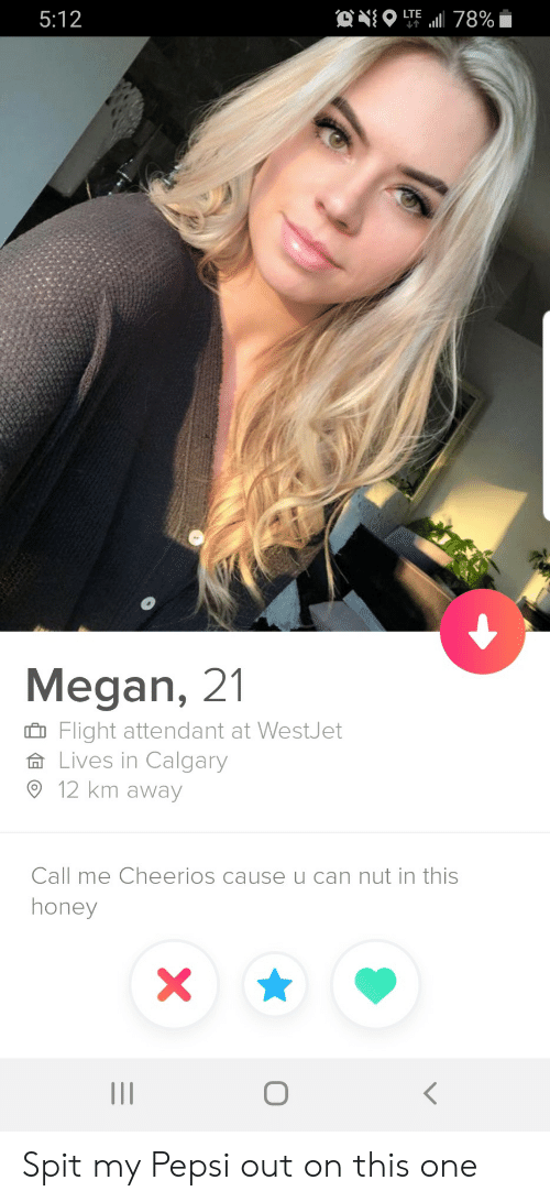 Megan: ONO  LTE  5:12  78%  Megan, 21  Flight attendant at WestJet  Lives in Calgary  12 km away  Call me Cheerios cause u can nut in this  honey  X  O Spit my Pepsi out on this one
