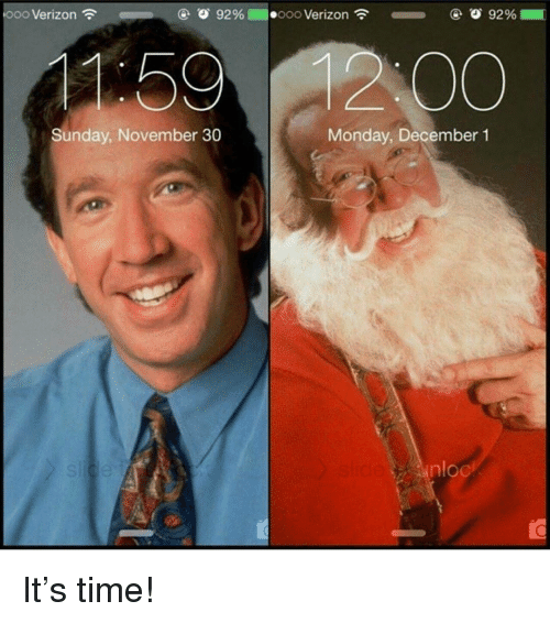 Memes, Verizon, and Time: ooo Verizon  1:59  Sunday, November 30  Monday, December 1  nloc It's time!