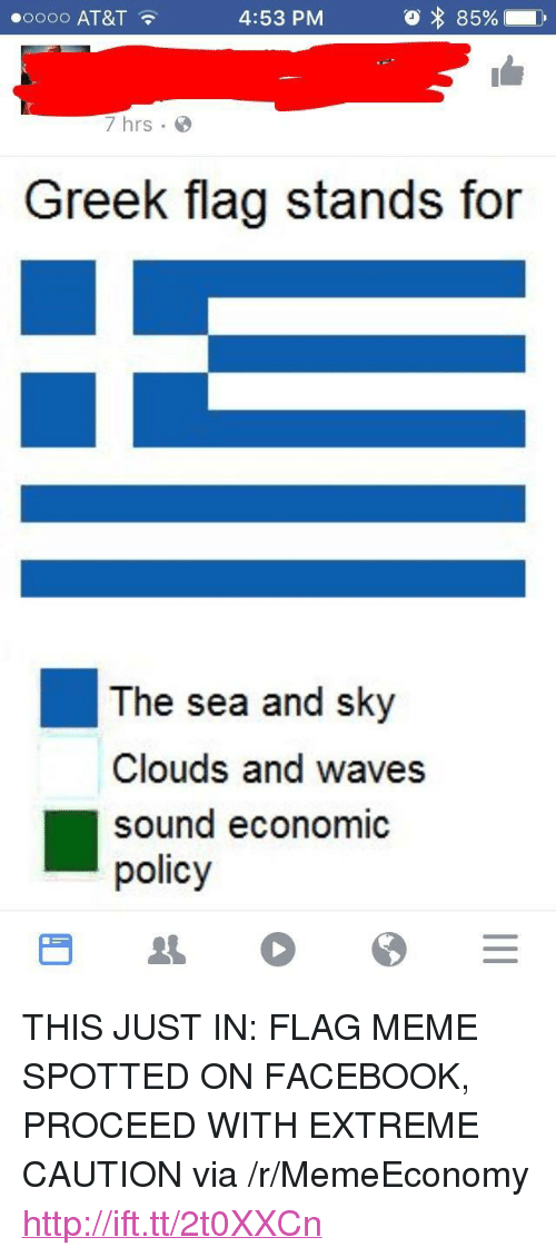 """Facebook, Meme, and Waves: oooo AT&T  4:53 PM  7 hrs  Greek flag stands for  The sea and sky  Clouds and waves  sound economic  policy <p>THIS JUST IN: FLAG MEME SPOTTED ON FACEBOOK, PROCEED WITH EXTREME CAUTION via /r/MemeEconomy <a href=""""http://ift.tt/2t0XXCn"""">http://ift.tt/2t0XXCn</a></p>"""