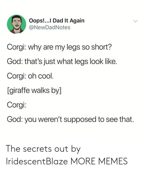 Giraffe: Oops!...I Dad It Again  @NewDadNotes  Corgi: why are my legs so short?  God: that's just what legs look like.  Corgi: oh cool.  [giraffe walks by]  Corgi:  God: you weren't supposed  to see that. The secrets out by IridescentBlaze MORE MEMES