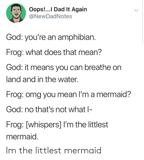 Dad, God, and Omg: Oops!...I Dad lt Again  NewDadNotes  God: you're an amphibian  Frog: what does that mean?  God: it means you can breathe on  land and in the water.  Frog: omg you mean I'm a mermaid?  God: no that's not what l-  Frog: [whispers] I'm the littlest  mermaid Im the littlest mermaid