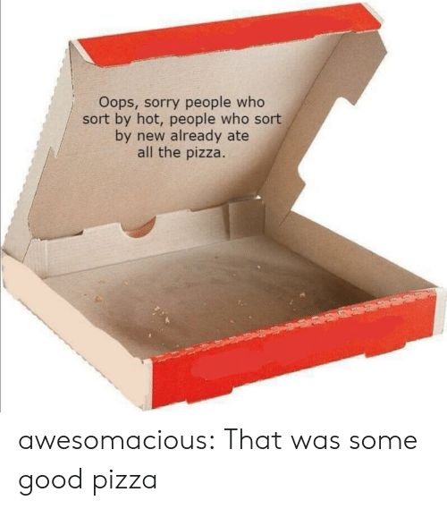 Some Good: Oops, sorry people who  sort by hot, people who sort  by new already ate  all the pizza. awesomacious:  That was some good pizza