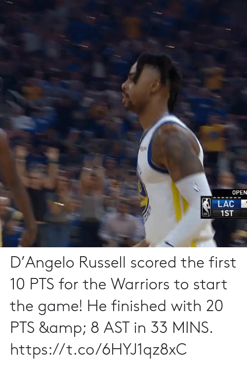Warriors: OPEN  LAC  1ST D'Angelo Russell scored the first 10 PTS for the Warriors to start the game!  He finished with 20 PTS & 8 AST in 33 MINS.    https://t.co/6HYJ1qz8xC