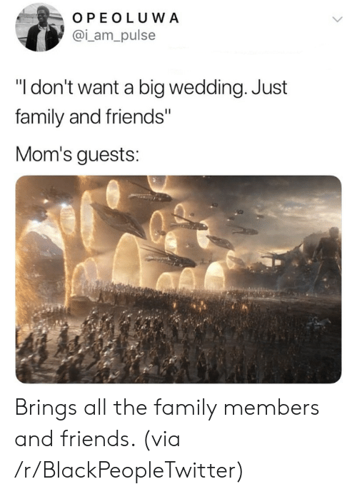 "pulse: OPEOLUWA  @i_am_pulse  ""I don't want a big wedding. Just  family and friends""  Mom's guests: Brings all the family members and friends. (via /r/BlackPeopleTwitter)"