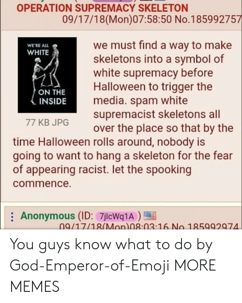 commence: OPERATION SUPREMACY SKELETON  09/17/18(Mon)07:58:50 No.185992757  we must find a way to make  skeletons into a symbol of  white supremacy before  Halloween to trigger the  media. spam white  supremacist skeletons all  over the place so that by the  WE'RE ALL  WHITE  ON THE  INSIDE  77 KB JPG  time Halloween rolls around, nobody is  going to want to hang a skeleton for the fear  of appearing racist. let the spooking  commence.  Anonymous (ID: 7jlcWq1A)  09/17/18(Mon 08:03 16 No 185992974 You guys know what to do by God-Emperor-of-Emoji MORE MEMES