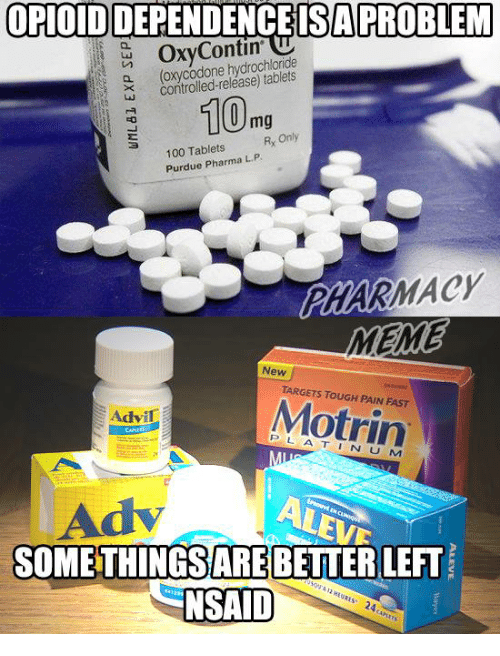 purdue: OPIOIDIDEPENDENCEISAPROBLEM  OxyContin  hydrochloride  controlled-release) a N (100mg  Rx Only  100 Tablets  Purdue Pharma LP  MACY  MEME  New  TARGETS Motrin  Advil  M  ARE  LEFT  NSAID