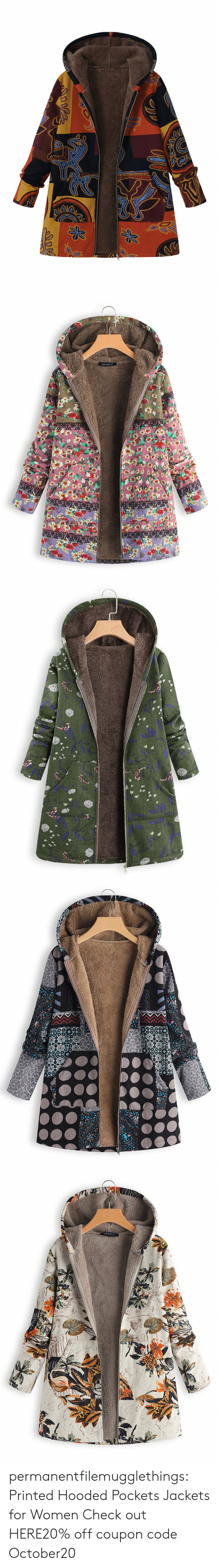 Tumblr, Blog, and Women: Opoo   GRACILA   w  וadll  -ו3 y permanentfilemugglethings:  Printed Hooded Pockets Jackets for Women Check out HERE20% off coupon code:October20