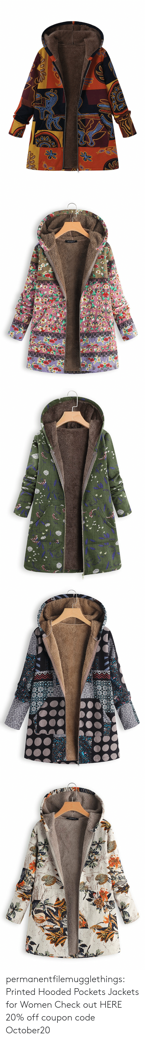 Tumblr, Blog, and Women: Opoo   GRACILA   w  וadll  -ו3 y permanentfilemugglethings: Printed Hooded Pockets Jackets for Women  Check out HERE  20% off coupon code:October20
