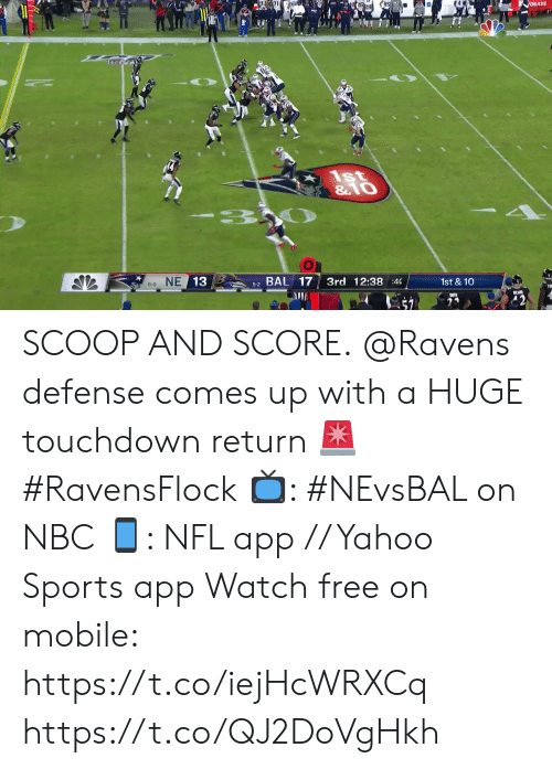 8 0: ORADE  1st  & O  - 3  8-0 NE 13  5-2 BAL 17  3rd 12:38 :40  1st & 10 SCOOP AND SCORE.  @Ravens defense comes up with a HUGE touchdown return 🚨 #RavensFlock  📺: #NEvsBAL on NBC 📱: NFL app // Yahoo Sports app Watch free on mobile: https://t.co/iejHcWRXCq https://t.co/QJ2DoVgHkh