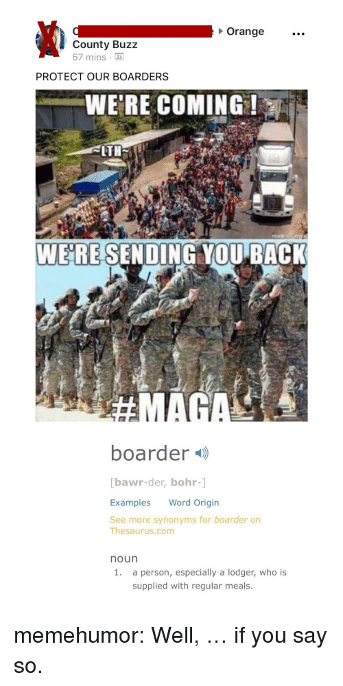 boarders: Orange  County Buzz  57 mins  PROTECT OUR BOARDERS  WE'RE COMING  WERE SENDING YOU BACK  boarder )  bawr-der, bohr-]  Examples Word Origin  See more synonyms for boarder on  Thesaurus.com  noun  1.  a person, especially a lodger, who is  supplied with regular meals. memehumor:  Well, … if you say so.