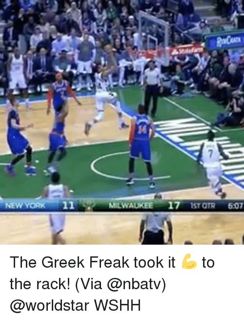 Memes, 🤖, and Freaks: ORK 11  MILWAUKEE  17  IST OTR  607 The Greek Freak took it 💪 to the rack! (Via @nbatv) @worldstar WSHH