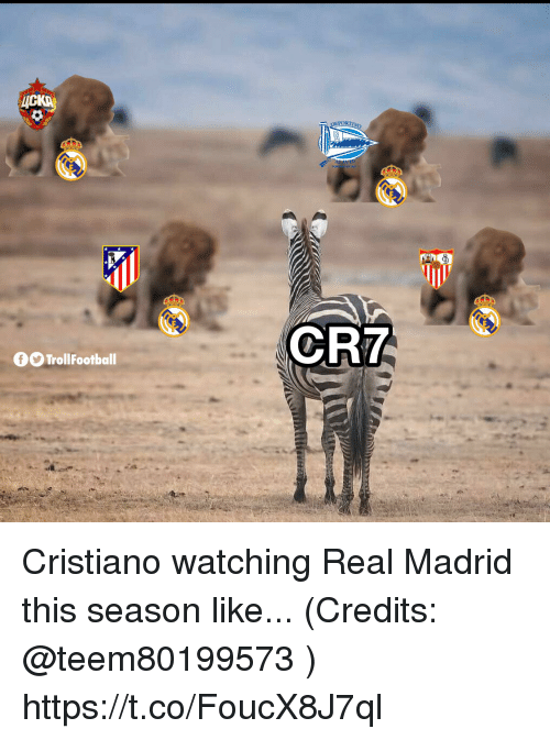 Memes, Real Madrid, and 🤖: ORTIVO  CR7  fTrollFootball Cristiano watching Real Madrid this season like... (Credits: @teem80199573 ) https://t.co/FoucX8J7ql